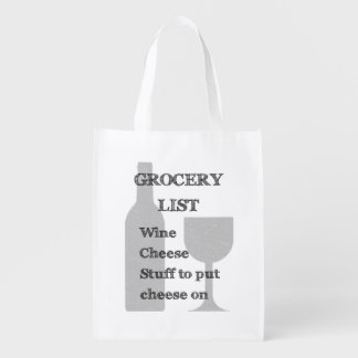 Bottle and Glass: Wine Lovers Grocery List Reusable Grocery Bag
