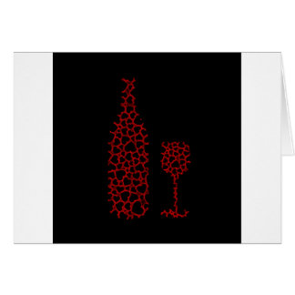 Bottle and glass with hearts card