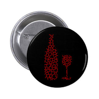 Bottle and glass with hearts pinback button