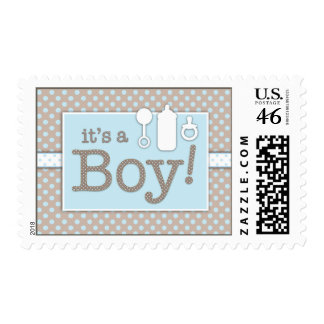 Bottle Binky Rattle Baby Its a Baby Boy Postage