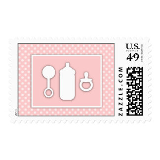 Bottle Binky Rattle Baby Shower Girly Pink Postage