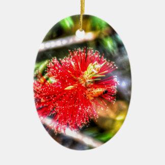 BOTTLE BRUSH FLOWER CALLISTEMON & BEE AUSTRALIA CERAMIC ORNAMENT
