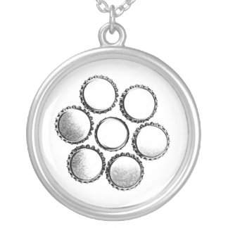 Bottle Cap Art - Beer Love Silver Plated Necklace