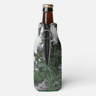 BOTTLE COOLER/EVERGREEN TREE BRANCHES WITH SNOW BOTTLE COOLER