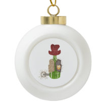 Bottle Cowboy Bauble Ceramic Ball Christmas Ornament