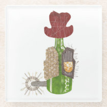 Bottle Cowboy Glass Coaster