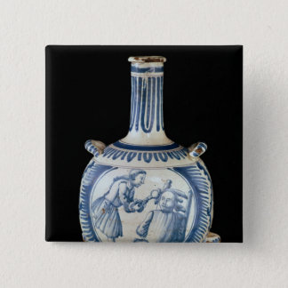 Bottle depicting a dentist pinback button