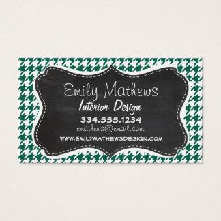 Bottle Green Houndstooth; Retro Chalkboard Business Card
