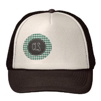 Bottle Green Houndstooth; Retro Chalkboard Hats