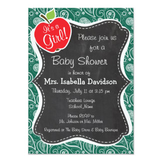 Bottle Green Paisley; Apple Personalized Invitations