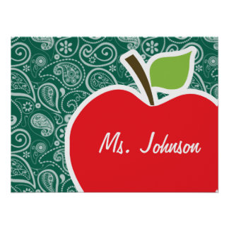 Bottle Green Paisley Apple Poster