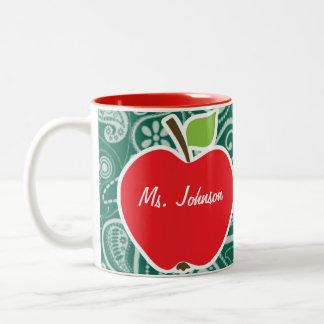 Bottle Green Paisley; Apple Two-Tone Coffee Mug