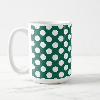 Bottle Green Polka Dots Coffee Mug