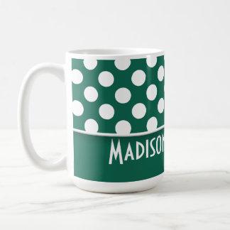 Bottle Green Polka Dots; Personalized Coffee Mug