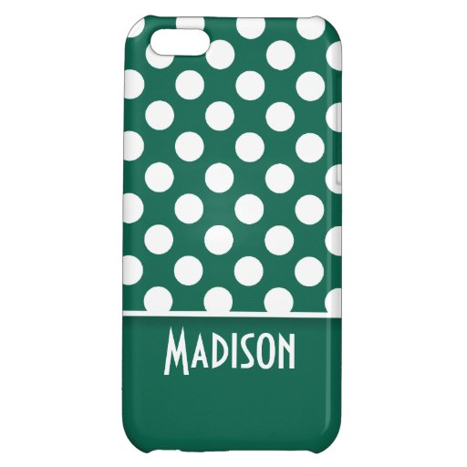 Bottle Green Polka Dots; Personalized Case For iPhone 5C
