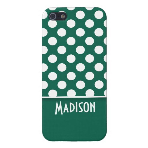 Bottle Green Polka Dots; Personalized iPhone 5 Covers