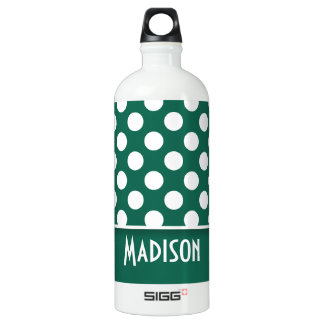 Bottle Green Polka Dots; Personalized SIGG Traveler 1.0L Water Bottle