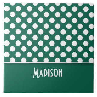 Bottle Green Polka Dots; Personalized Large Square Tile