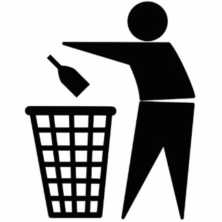 Bottle into Trash Can Symbol Photo Cut Outs