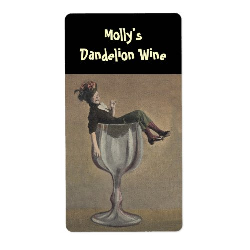 Bottle Labeling Funny Lady Wine Glass Personalized Label