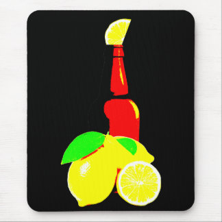 Bottle of Beer and Lemons Mouse Pad