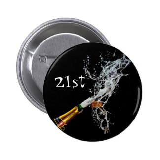 Bottle of Champagne	 21st Button Badge