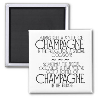 Bottle Of Champagne In The Fridge Magnet