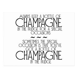 Bottle Of Champagne In The Fridge Postcard