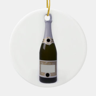 Bottle of Champagne with blank label Ceramic Ornament