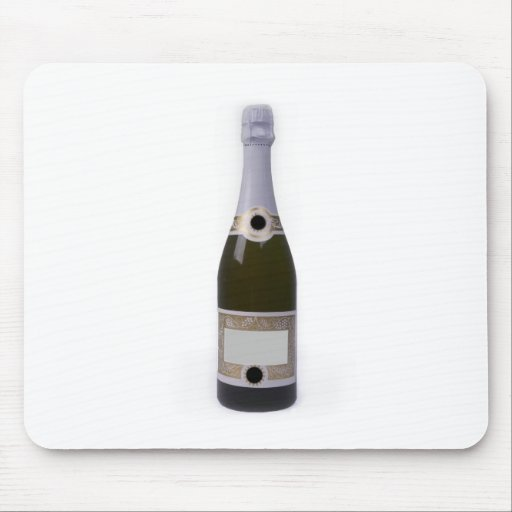 Bottle of Champagne with blank label Mousepads