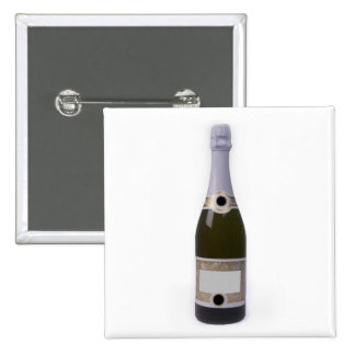 Bottle of Champagne with blank label Pinback Button