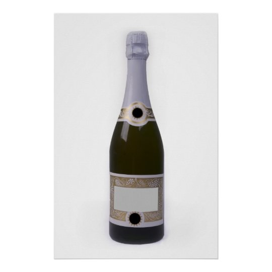 Bottle of Champagne with blank label Poster