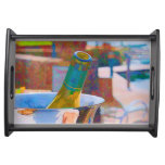 Bottle of Chardonnay by a Lake Impressionist Style Serving Platter