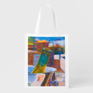 Bottle of Chardonnay by a Lake Impressionist Style Reusable Grocery Bag