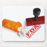 Bottle of Pills and a FDA APPROVED rubber stamp Mouse Pad
