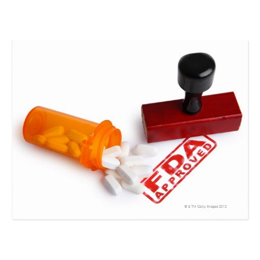 Bottle of Pills and a FDA APPROVED rubber stamp Postcard