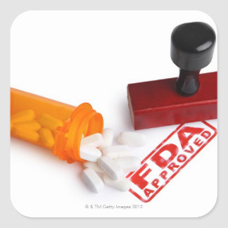 Bottle of Pills and a FDA APPROVED rubber stamp Square Sticker