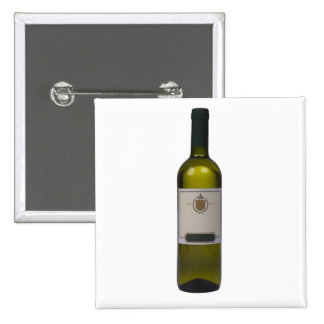 Bottle of quality wine with blank label 2 inch square button
