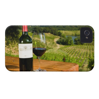 Bottle of red wine and glass on table iPhone 4 Case-Mate cases