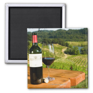 Bottle of red wine and glass on table magnet