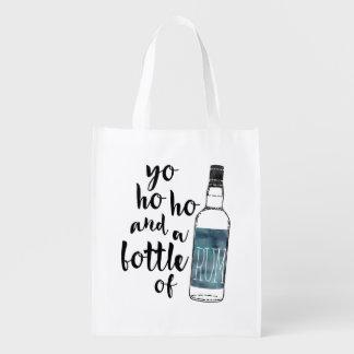 Bottle of Rum Reusable Bag Market Totes