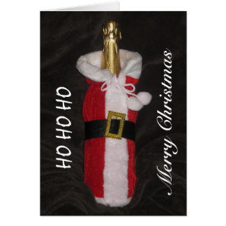 Bottle Of Wine In Santa Suit Merry Christmas Card