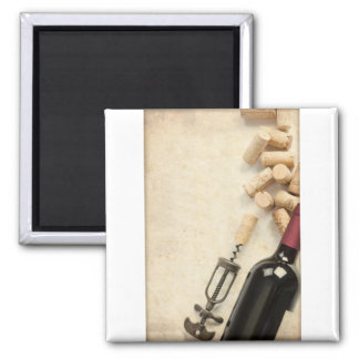 Bottle of Wine 2 Inch Square Magnet