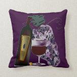 Bottle of Wine n Grapes (purple) Pillow