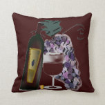 Bottle of Wine n Grapes Throw Pillow