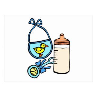 bottle rattle bib - blue postcard