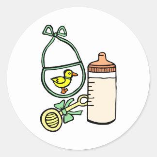 bottle rattle bib green classic round sticker