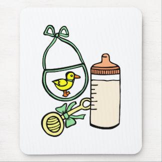 bottle rattle bib green mouse pad