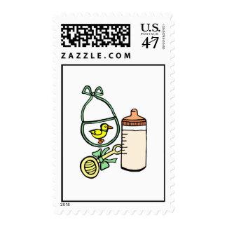 bottle rattle bib green postage
