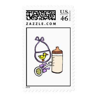 bottle rattle bib lavender stamp